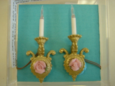 Pair of Sconces, Brass with Pink Rose SOLD OUT