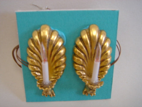 Pair Antique Gold Shell Sconces