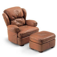 Leather Easy Chair W/ Ottoman