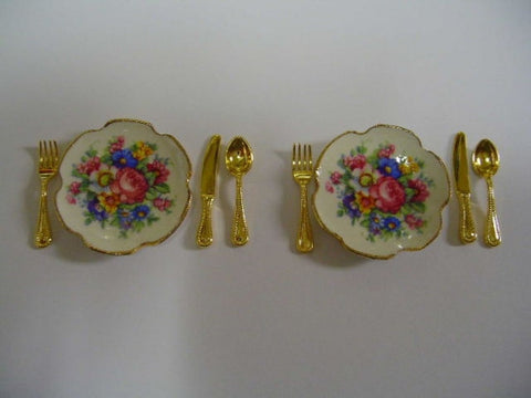 Place Settings, Pair of Rose Pattern