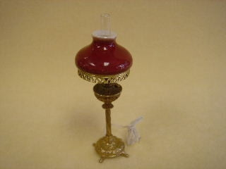 Table Lamp, Victorian /Red Shade