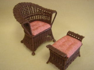 Wicker Chair and Ottoman (Peach)