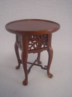 End Table, Round, Intricate, New Walnut