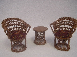 Wicker Bongo Table and Chair Set