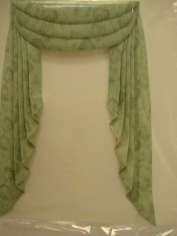 Swag Drape, Soft Green Pattern