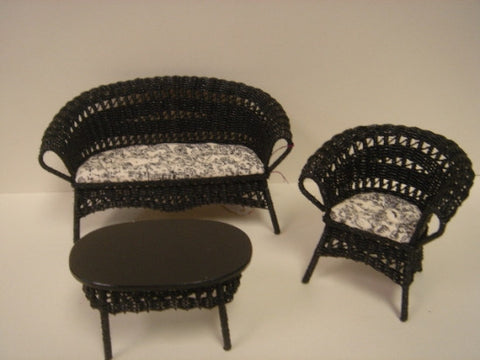 Wicker Set, Black, by Wilhelmina