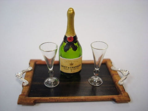 Champagne Tray with Black Base.