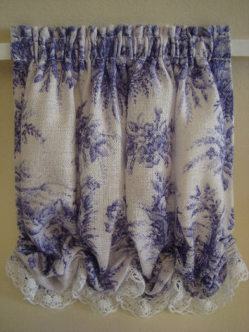 Balloon Curtains, Purple and White Toile