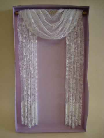 Drapes, Full Length White Lace with Swag