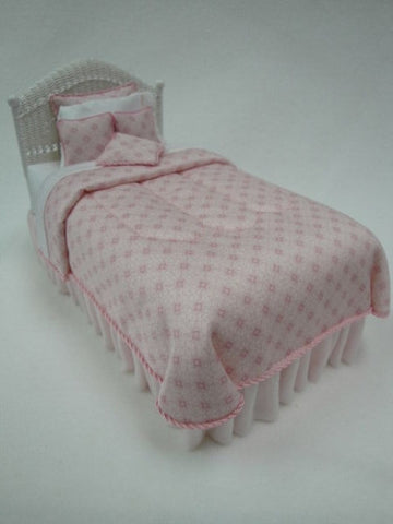 Wicker Twin Bed, Pink Silk