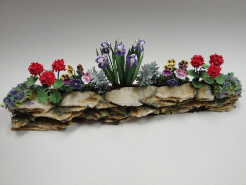 Wall Garden with Irises, Geraniums and Pansies OUT OF STOCK