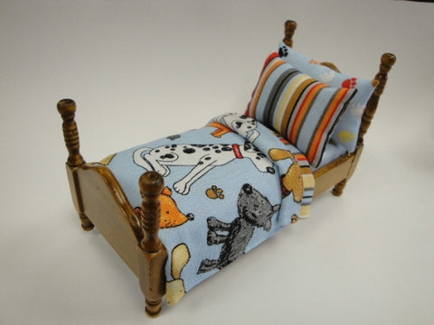 Twin Bed with Dog Fabric