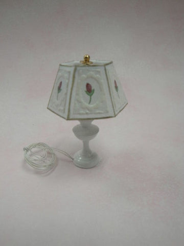 Table Lamp, White with Fleur de Lis