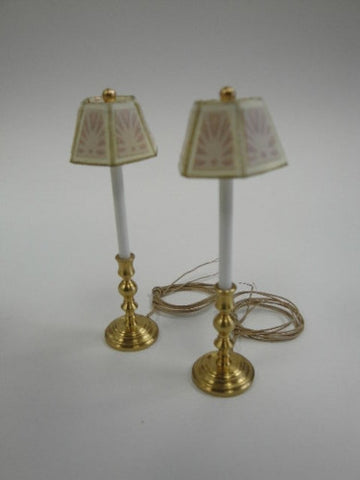 Candlestick Lamps, White and Pink