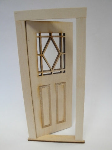 Door with Diamond Window Pattern