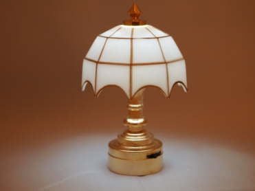 Tiffany Table Lamp, White Shade, Battery Powered