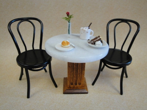 Bistro Table and Two Black Metal Chairs