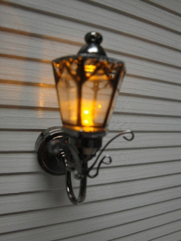 Coach Lamp, Dark Metal, with Fancy Details,  Battery Powered