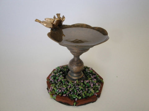 Bird Bath with Bronze Birds