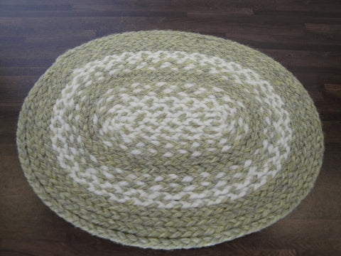 Braided Rug, Oval, Medium, Green and White