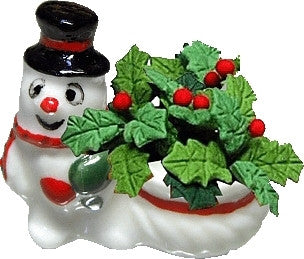 Snowman Planter with Holly