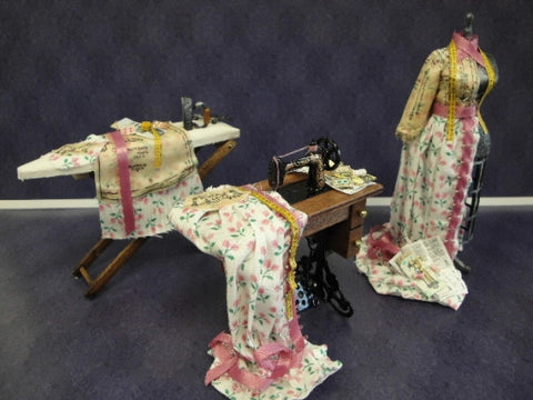 Sewing Set, Three Piece Pink Cotton Chintz