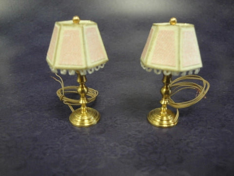 Lamps, Pair Small Working with Pink Fringed Shades