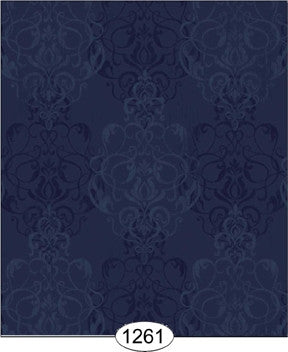 Damask, Romantic, Navy, Wallpaper