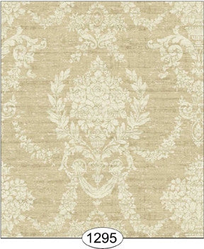 Damask, Woven Beige, Wallpaper