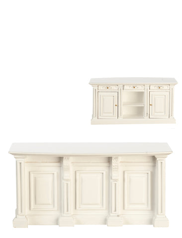 Formal Kitchen Island, White Finish