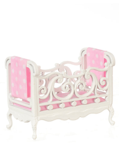 Crib, White with Pink Fabric