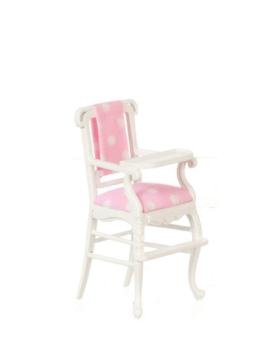 Windsor High Chair, White with Pink