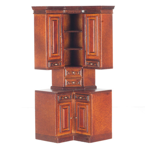 Formal Kitchen Corner Cabinet, Walnut Finish