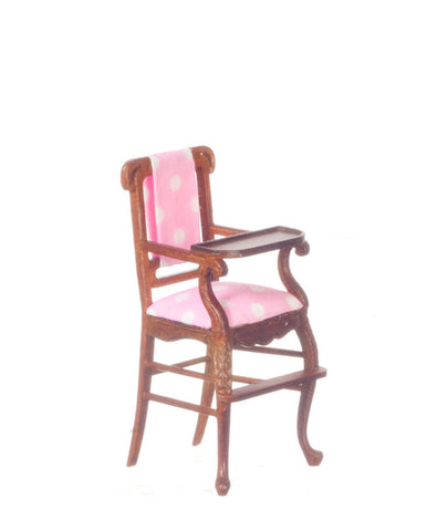 Windsor High Chair, Walnut with Pink