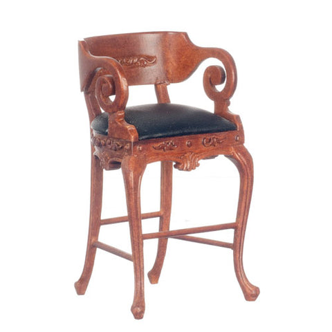 Bar Stool, Leather Seat, Walnut Finish