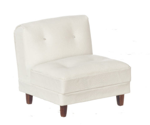 Hoover Living Room Side Chair, White Leather and Walnut