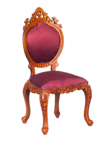 Victorian Side Chair, Walnut and Burgundy Silk