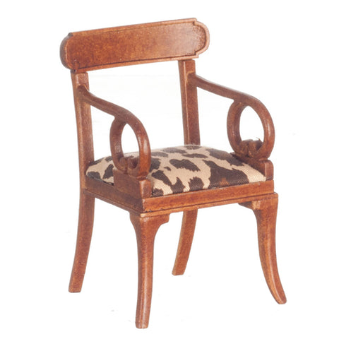 Arm Chair, Walnut with Animal Print