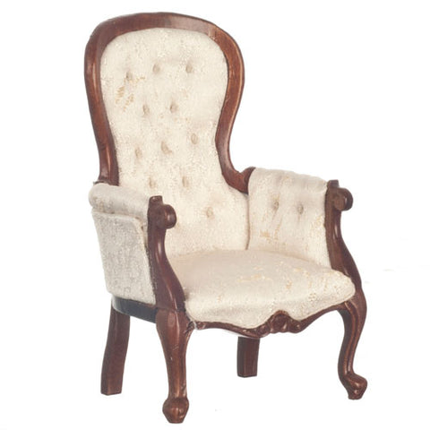 Victorian Style Arm chair, Off White Silk and Walnut