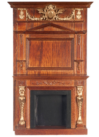 Fireplace with Figurehead, Walnut and Gold Finish