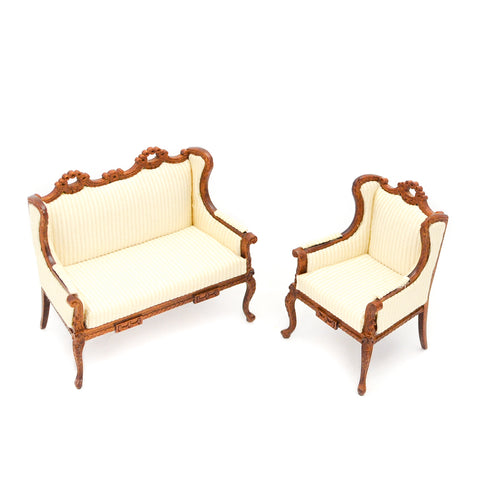 Two Piece Living Room Set, Soft Yellow and Walnut Finish