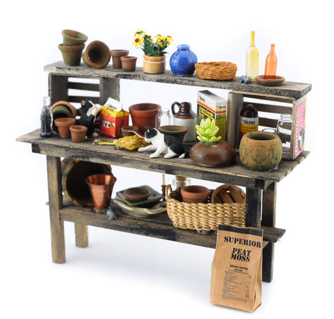 Large  Potting Bench with Garden Accessories