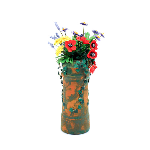 Terracotta Pedestal with Lavender ,Poppies, Marigolds and Gerber Daisies