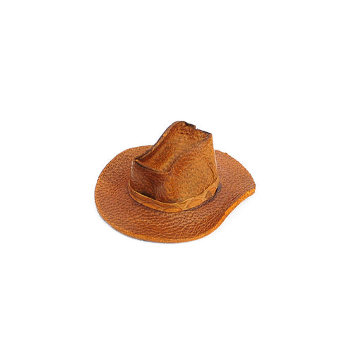 Cowboy Hat, Brown Leather, Aged
