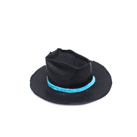 Cowboy Hat, Black Leather with Blue Trim