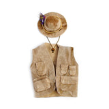 Fly Fishing Vest and Hat Set, Brown Leather