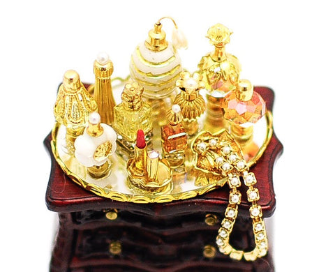 Perfume Tray with Diamonds and Gold