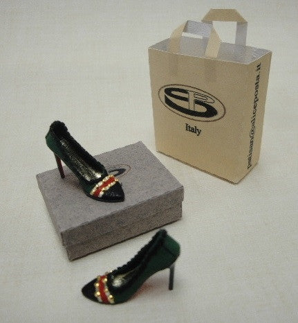 Green, Red, Gold Stiletto Heels