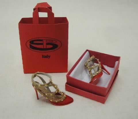Red and Gold Stiletto Heels SOLD