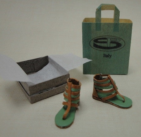 Leather Sandals, Green and Tan, by Patrizia Santi SOLD